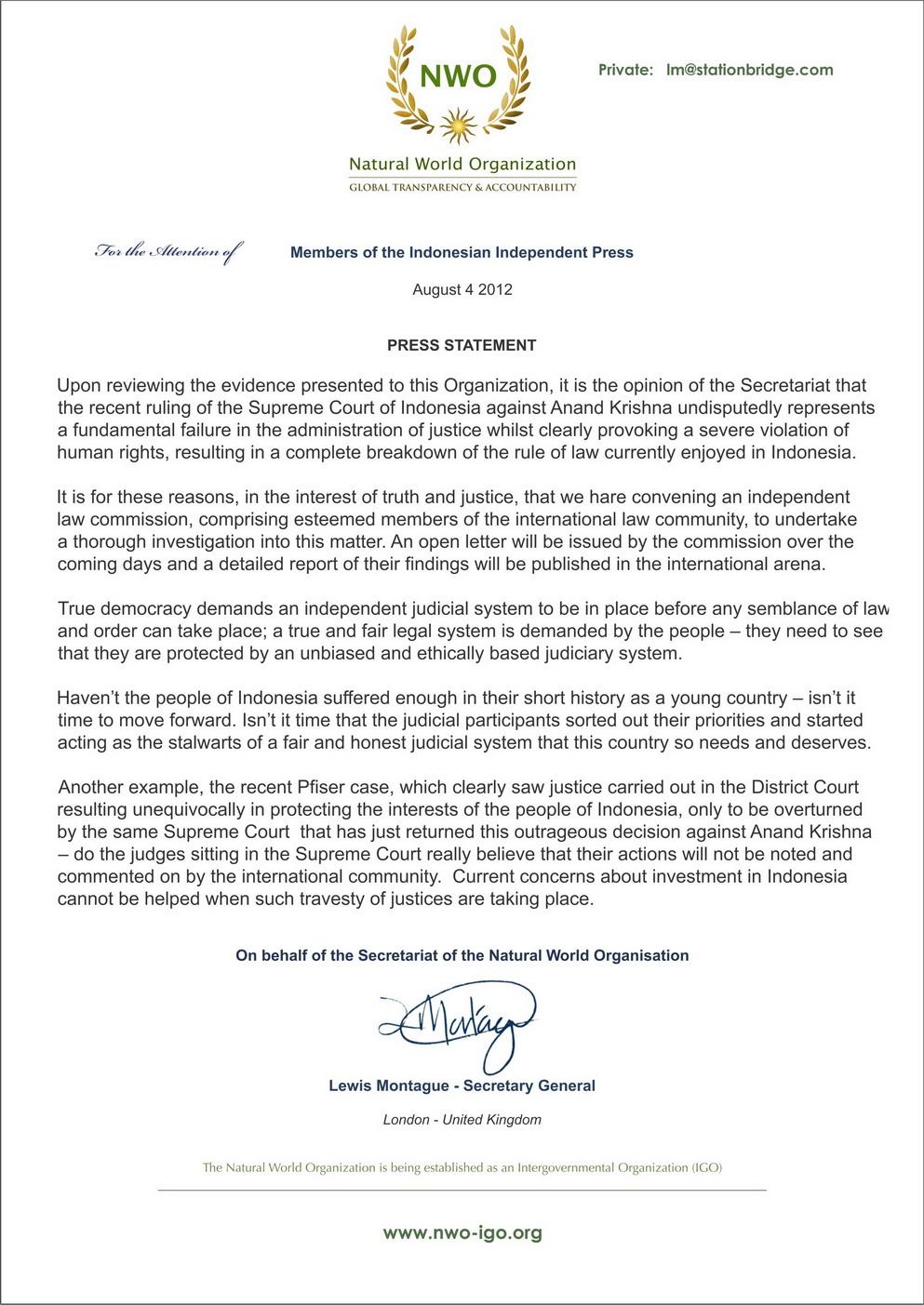 Natural world organization press statement anand krishna charter language thecheapjerseys Images